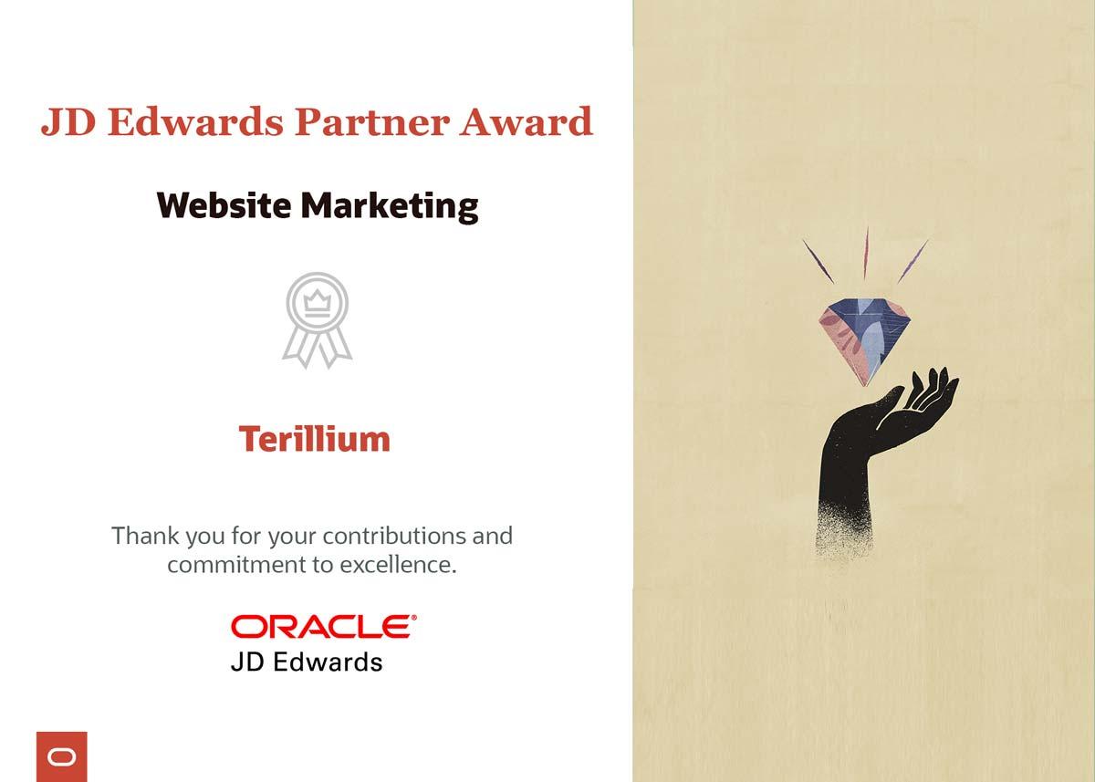 Terillium JD Edwards Partner Awards
